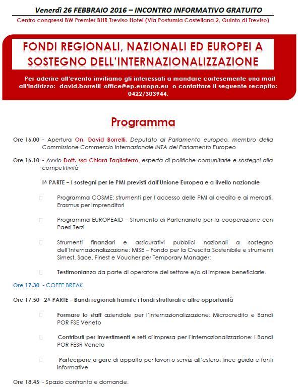 Programma Fondi Internazionalizzazione di impresa 26/02/2016