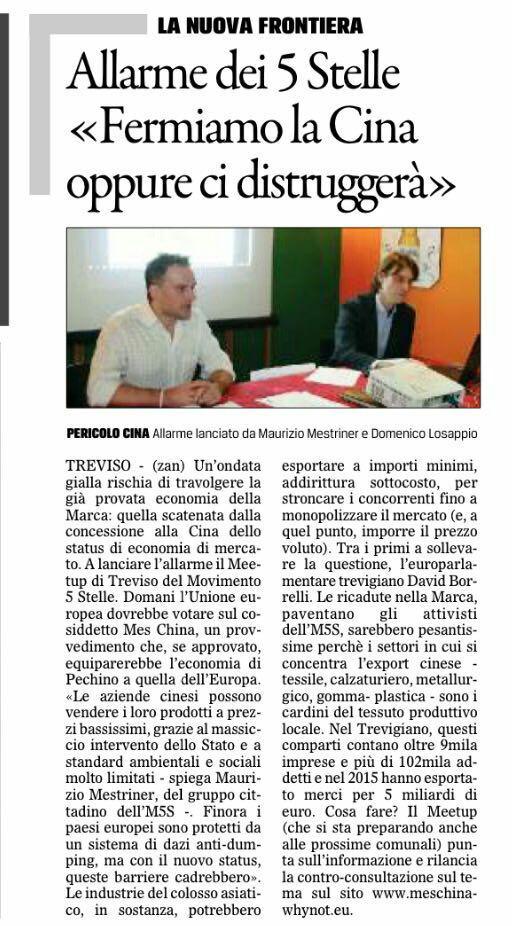 mes cina - treviso - gazzettino 10/12/2016