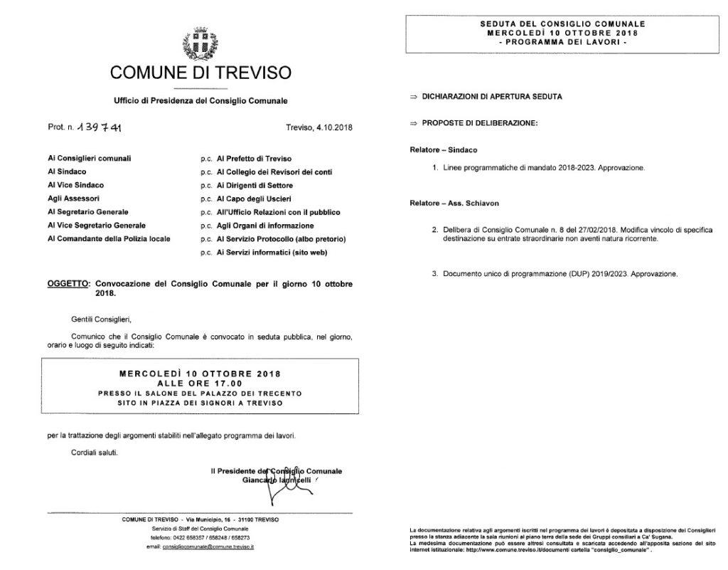 Treviso - convocazione Consiglio Comunale del 10/10/2018