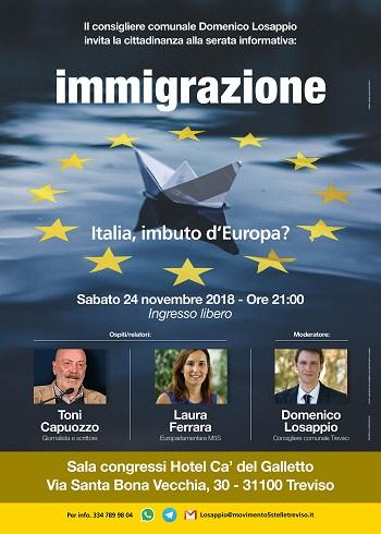 Immigrazione Italia imbuto Europa evento 24-11-2018