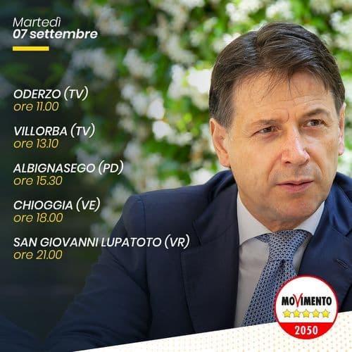 Giuseppe Conte in Veneto 07/09/2021